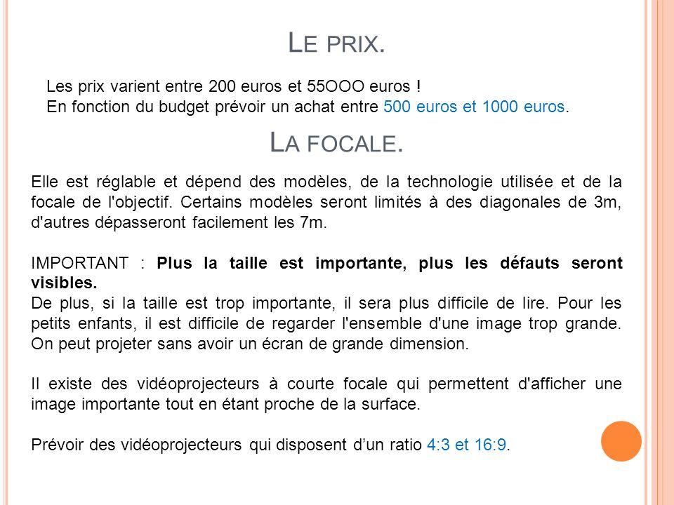 L E PRIX. Les prix varient entre 200 euros et 55OOO euros ! En fonction du budget prévoir un achat entre 500 euros et 1000 euros. L A FOCALE. Elle est