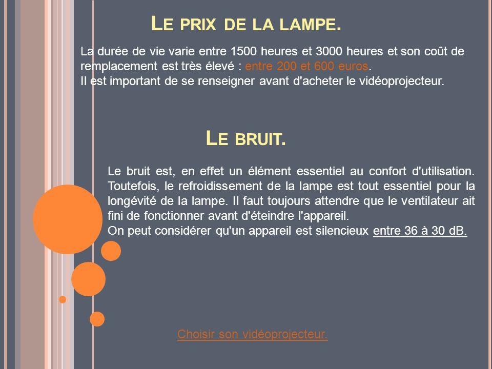 L E PRIX DE LA LAMPE. La durée de vie varie entre 1500 heures et 3000 heures et son coût de remplacement est très élevé : entre 200 et 600 euros. Il e