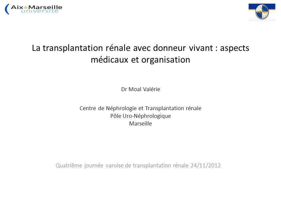 La transplantation rénale avec donneur vivant : aspects médicaux et organisation Dr Moal Valérie Centre de Néphrologie et Transplantation rénale Pôle