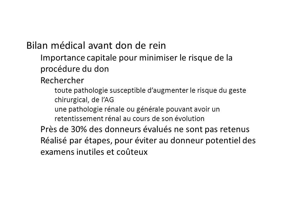 Bilan médical avant don de rein Importance capitale pour minimiser le risque de la procédure du don Rechercher toute pathologie susceptible daugmenter
