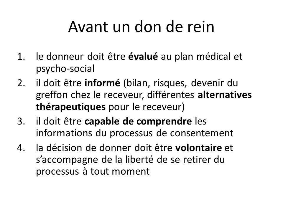 Avant un don de rein 1.le donneur doit être évalué au plan médical et psycho-social 2.il doit être informé (bilan, risques, devenir du greffon chez le
