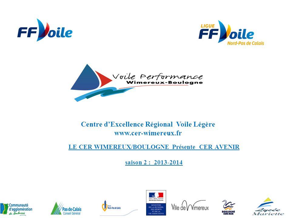 LE CER WIMEREUX/BOULOGNE Présente CER AVENIR saison 2 : 2013-2014 Centre dExcellence Régional Voile Légère www.cer-wimereux.fr