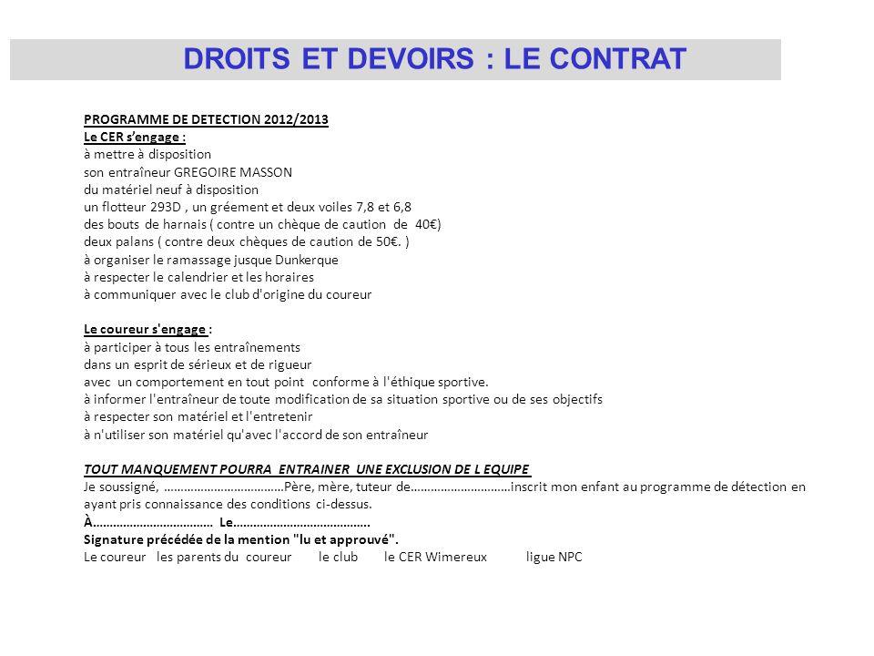 DROITS ET DEVOIRS : LE CONTRAT PROGRAMME DE DETECTION 2012/2013 Le CER sengage : à mettre à disposition son entraîneur GREGOIRE MASSON du matériel neu