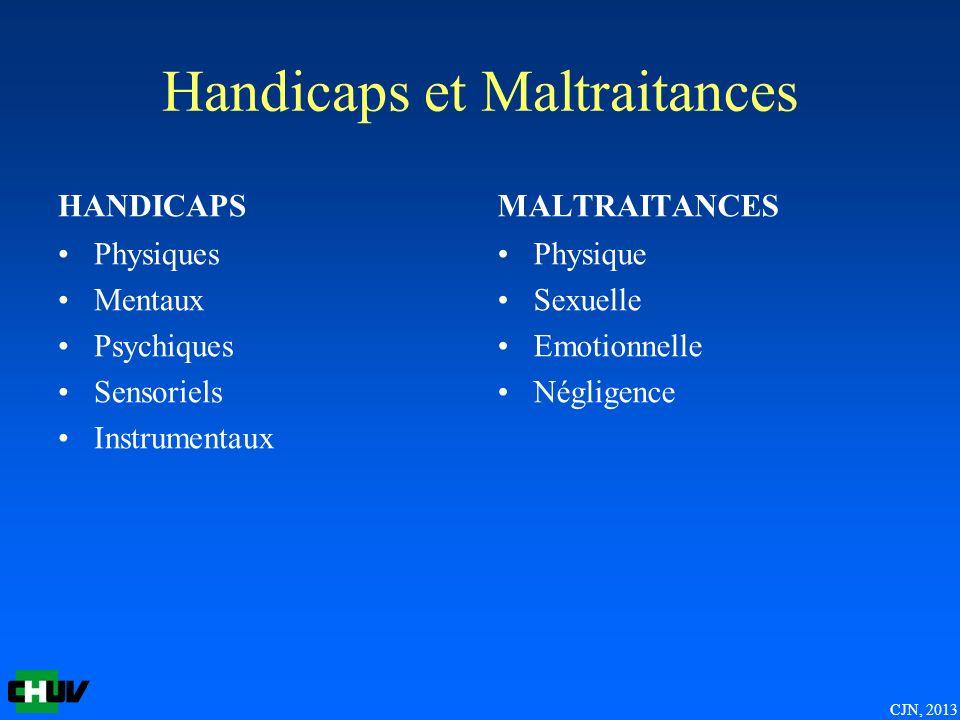 CJN, 2013 Handicaps et Maltraitances HANDICAPS Physiques Mentaux Psychiques Sensoriels Instrumentaux MALTRAITANCES Physique Sexuelle Emotionnelle Négl