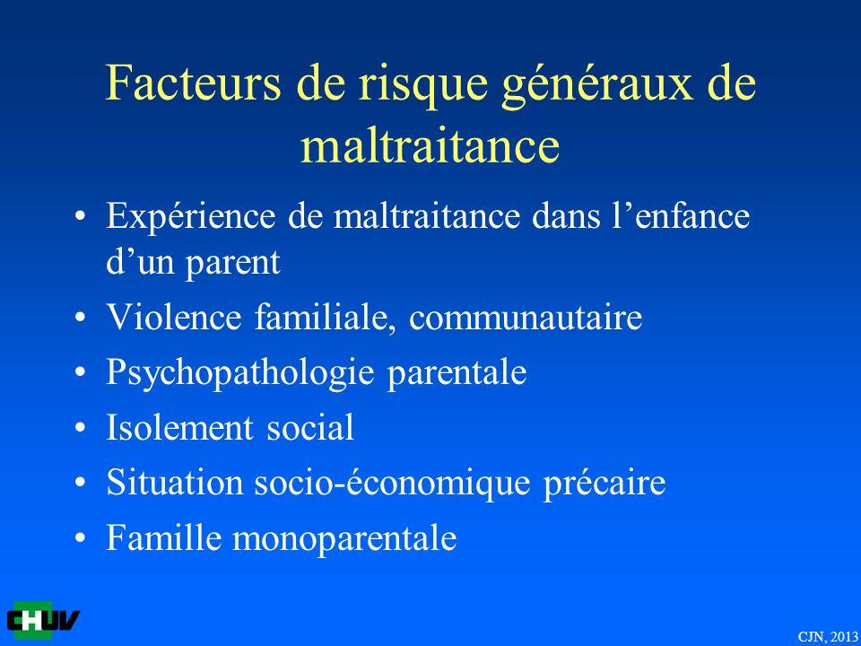 Facteurs de risque généraux de maltraitance Expérience de maltraitance dans lenfance dun parent Violence familiale, communautaire Psychopathologie par