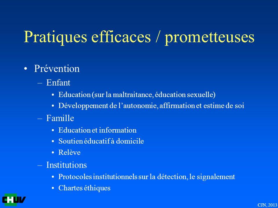 CJN, 2013 Pratiques efficaces / prometteuses Prévention –Enfant Education (sur la maltraitance, éducation sexuelle) Développement de lautonomie, affir