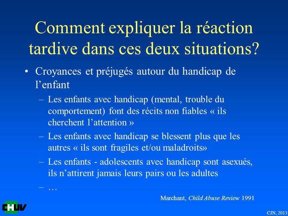 Comment expliquer la réaction tardive dans ces deux situations? Croyances et préjugés autour du handicap de lenfant –Les enfants avec handicap (mental