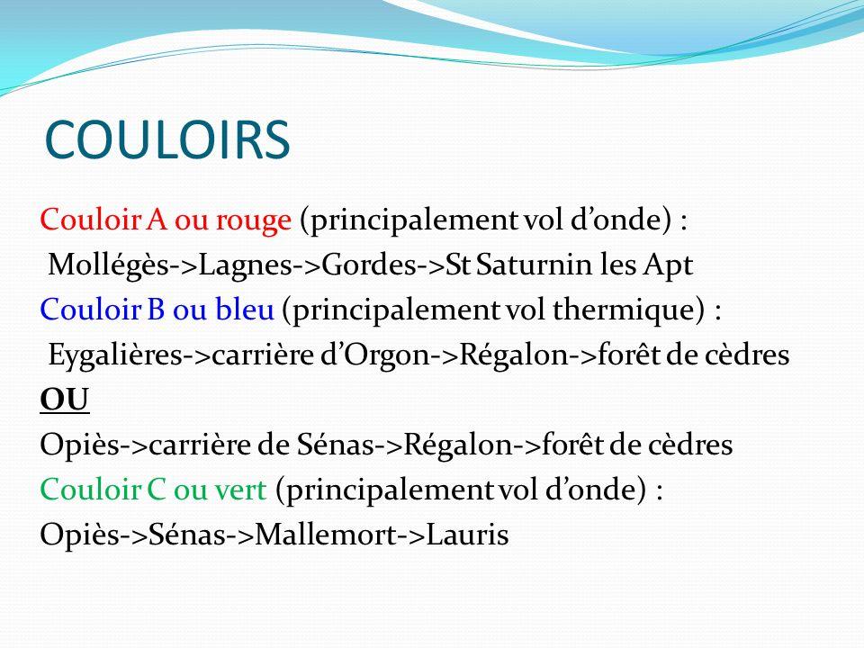 COULOIRS Couloir A ou rouge (principalement vol donde) : Mollégès->Lagnes->Gordes->St Saturnin les Apt Couloir B ou bleu (principalement vol thermique) : Eygalières->carrière dOrgon->Régalon->forêt de cèdres OU Opiès->carrière de Sénas->Régalon->forêt de cèdres Couloir C ou vert (principalement vol donde) : Opiès->Sénas->Mallemort->Lauris