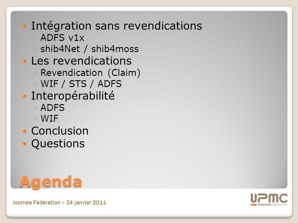 Journée Fédération – 24 janvier 2011 Agenda Intégration sans revendications ADFS v1x shib4Net / shib4moss Les revendications Revendication (Claim) WIF