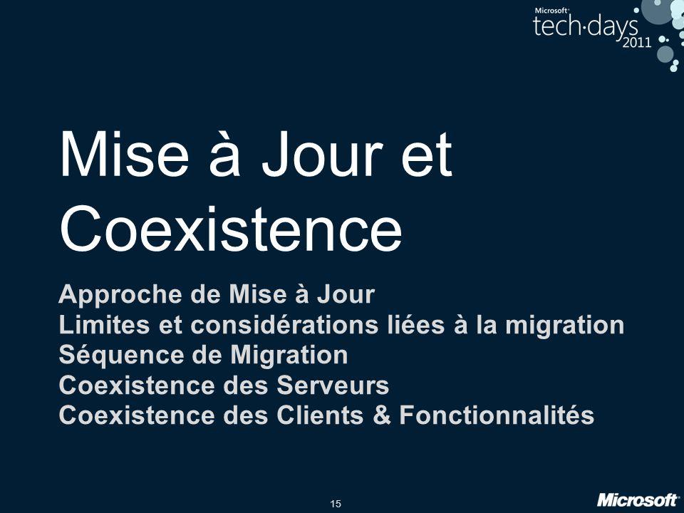 15 Mise à Jour et Coexistence Approche de Mise à Jour Limites et considérations liées à la migration Séquence de Migration Coexistence des Serveurs Co