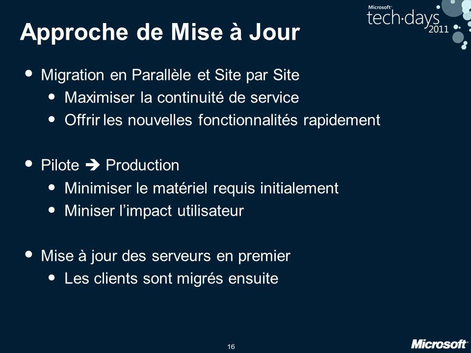 16 Approche de Mise à Jour Migration en Parallèle et Site par Site Maximiser la continuité de service Offrir les nouvelles fonctionnalités rapidement
