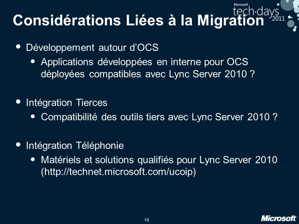 18 Considérations Liées à la Migration Développement autour dOCS Applications développées en interne pour OCS déployées compatibles avec Lync Server 2