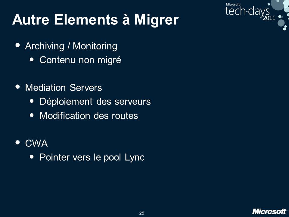 25 Autre Elements à Migrer Archiving / Monitoring Contenu non migré Mediation Servers Déploiement des serveurs Modification des routes CWA Pointer ver
