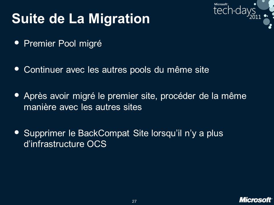 27 Suite de La Migration Premier Pool migré Continuer avec les autres pools du même site Après avoir migré le premier site, procéder de la même manièr