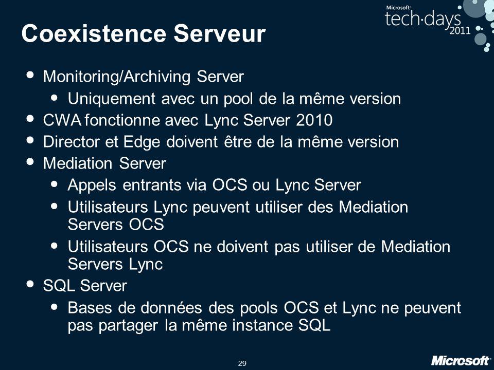 29 Coexistence Serveur Monitoring/Archiving Server Uniquement avec un pool de la même version CWA fonctionne avec Lync Server 2010 Director et Edge do