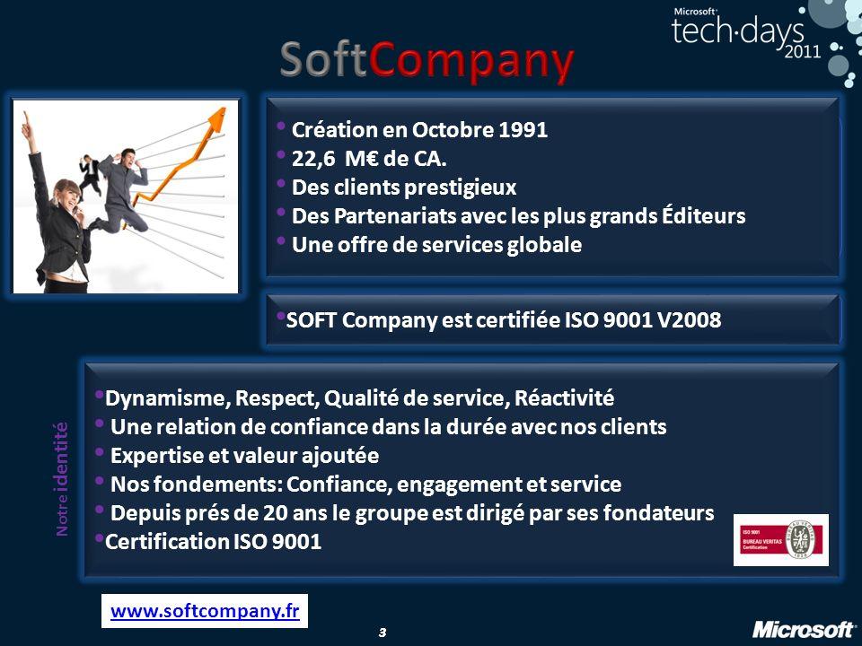 3 33 Texte Création en Octobre 1991 22,6 M de CA. Des clients prestigieux Des Partenariats avec les plus grands Éditeurs Une offre de services globale