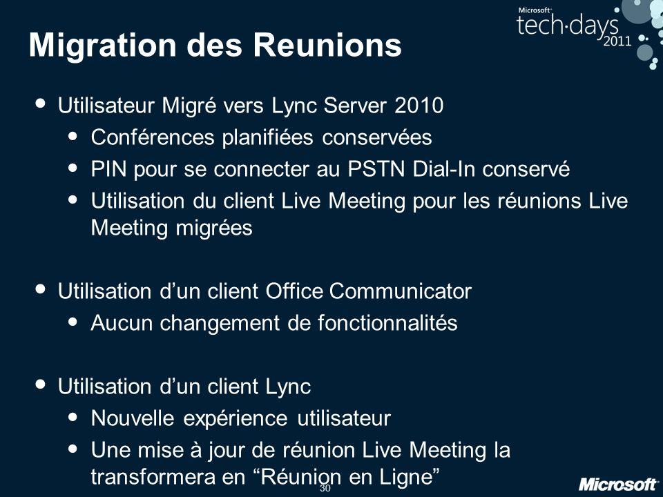 30 Migration des Reunions Utilisateur Migré vers Lync Server 2010 Conférences planifiées conservées PIN pour se connecter au PSTN Dial-In conservé Uti