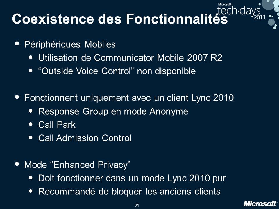 31 Coexistence des Fonctionnalités Périphériques Mobiles Utilisation de Communicator Mobile 2007 R2 Outside Voice Control non disponible Fonctionnent