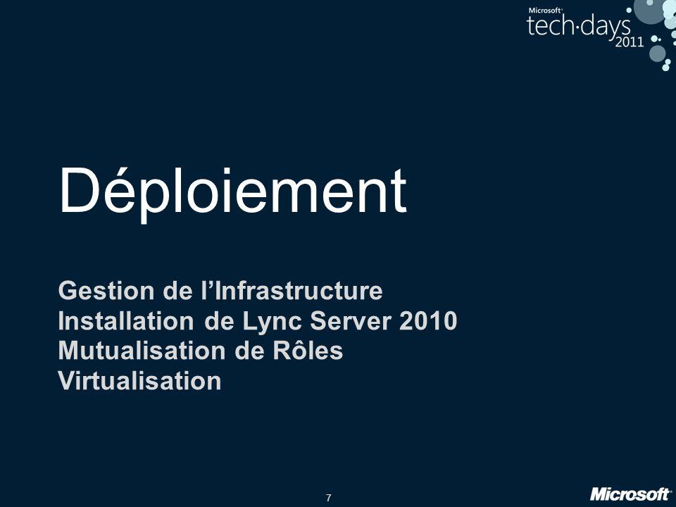 7 Déploiement Gestion de lInfrastructure Installation de Lync Server 2010 Mutualisation de Rôles Virtualisation