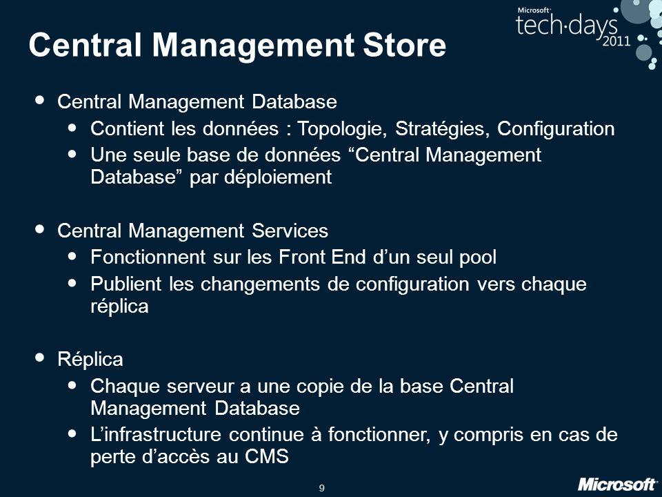 9 Central Management Store Central Management Database Contient les données : Topologie, Stratégies, Configuration Une seule base de données Central M