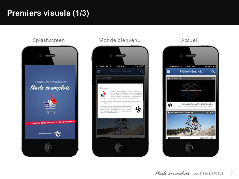 avec 7 Premiers visuels (1/3) SplashscreenMot de bienvenuAccueil