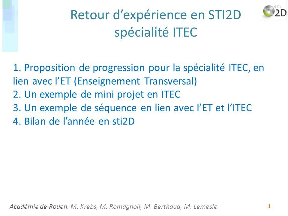 Académie de Rouen. M. Krebs, M. Romagnoli, M. Berthaud, M. Lemesle 1 Retour dexpérience en STI2D spécialité ITEC 1. Proposition de progression pour la