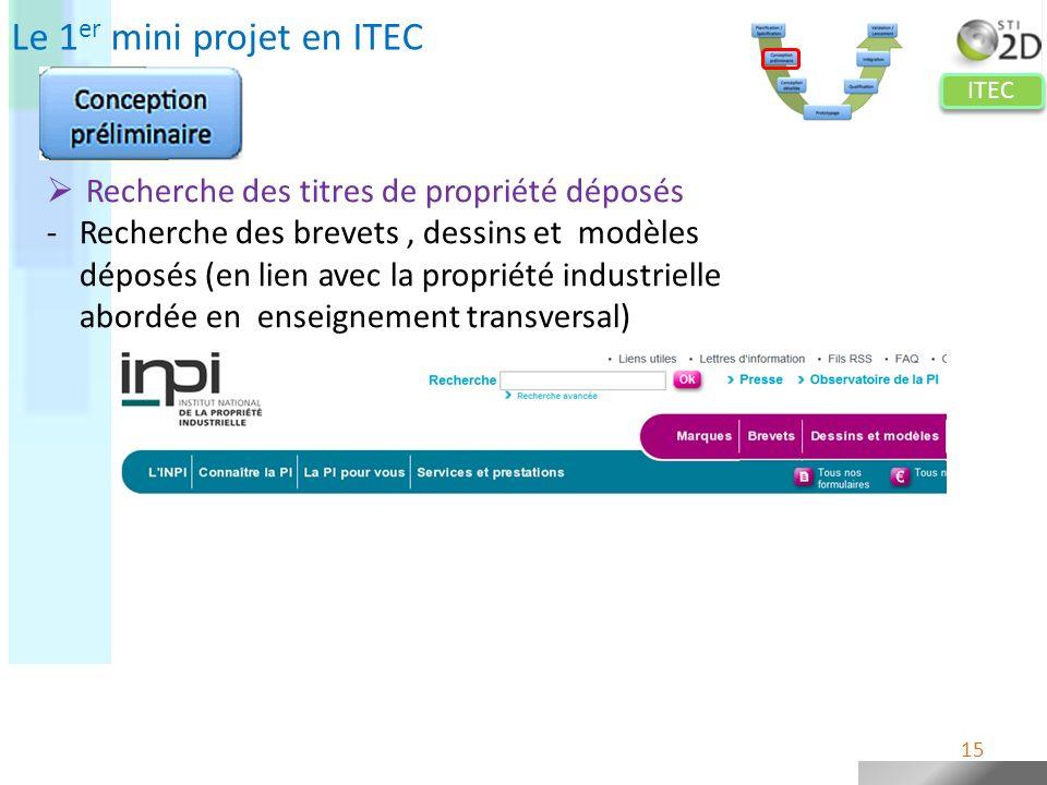 ITEC Le 1 er mini projet en ITEC Recherche des titres de propriété déposés -Recherche des brevets, dessins et modèles déposés (en lien avec la proprié