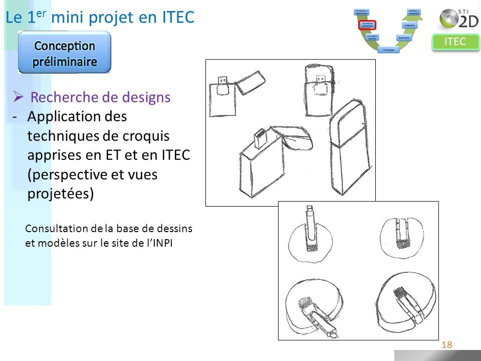ITEC Le 1 er mini projet en ITEC Recherche de designs -Application des techniques de croquis apprises en ET et en ITEC (perspective et vues projetées)