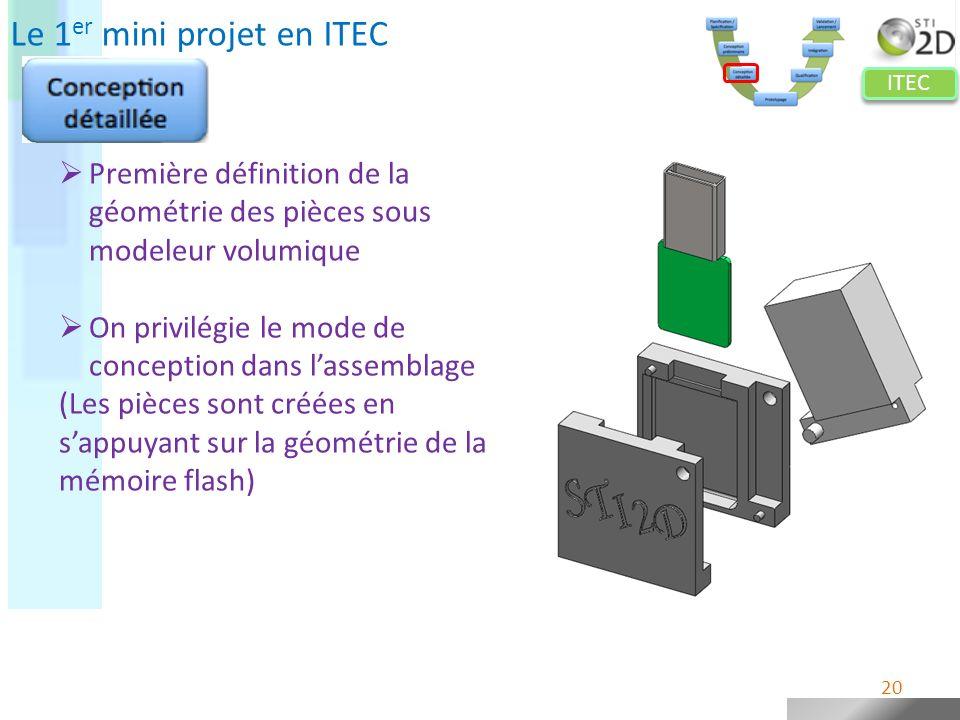 ITEC Le 1 er mini projet en ITEC Première définition de la géométrie des pièces sous modeleur volumique On privilégie le mode de conception dans lasse