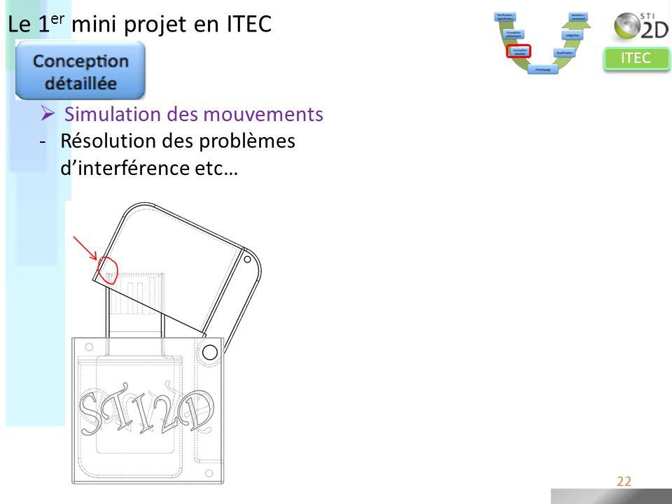 ITEC Le 1 er mini projet en ITEC Simulation des mouvements -Résolution des problèmes dinterférence etc… 22