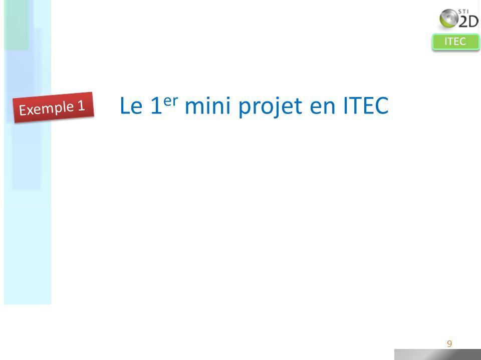 ITEC Le 1 er mini projet en ITEC Principes retenus : Les élèves ne parcourent que quelques étapes du cycle de projet Le travail de conception est relativement limité (4 pièces maximum) La conception détaillée nest pas menée jusquau bout (pas de choix de procédé, pas détude de résistance…) Etapes dun projet Exemple 1 10
