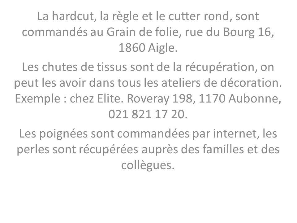 La hardcut, la règle et le cutter rond, sont commandés au Grain de folie, rue du Bourg 16, 1860 Aigle. Les chutes de tissus sont de la récupération, o