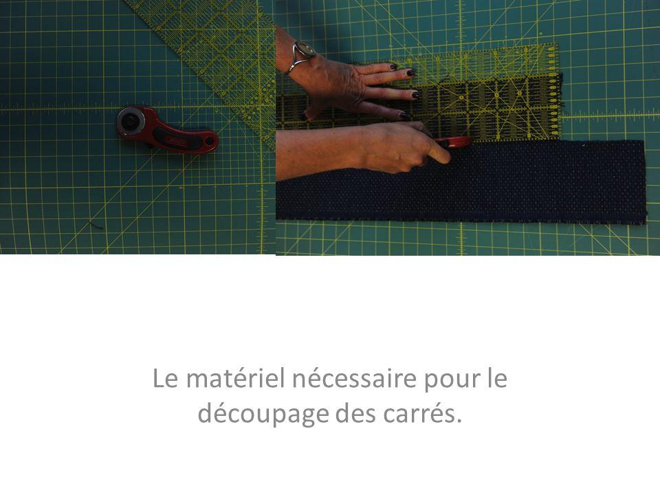 Le matériel nécessaire pour le découpage des carrés.