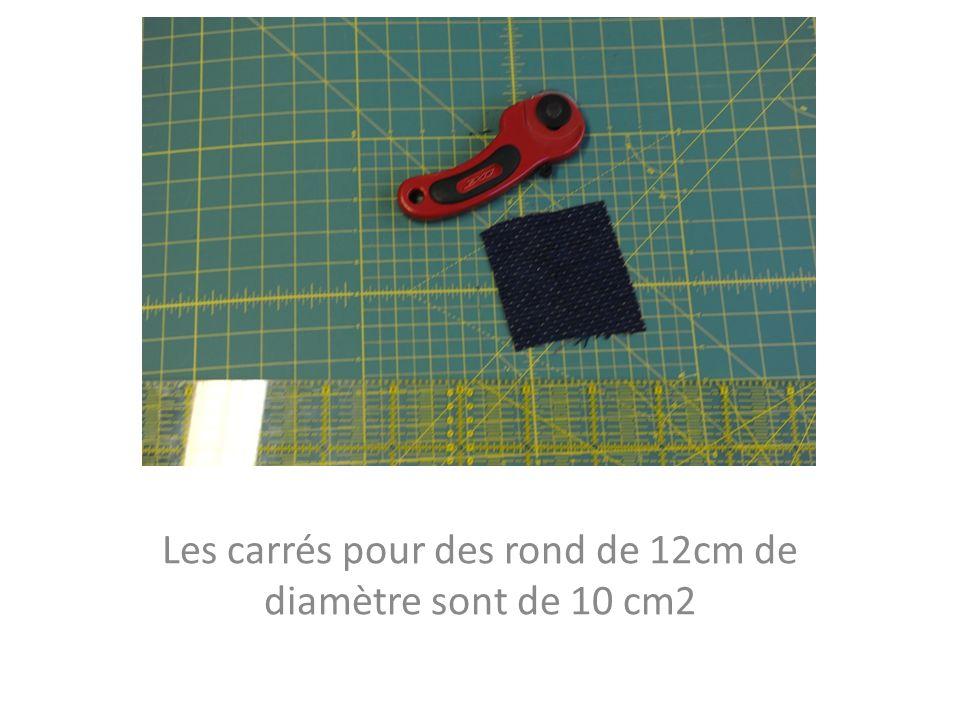 Les carrés pour des rond de 12cm de diamètre sont de 10 cm2