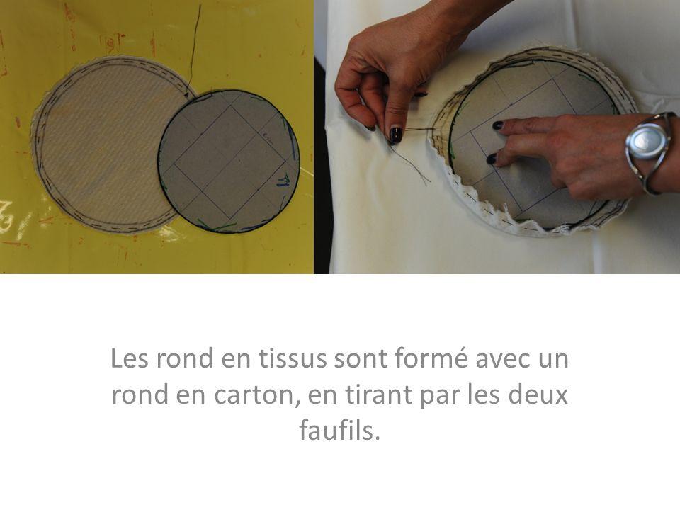 Les rond en tissus sont formé avec un rond en carton, en tirant par les deux faufils.