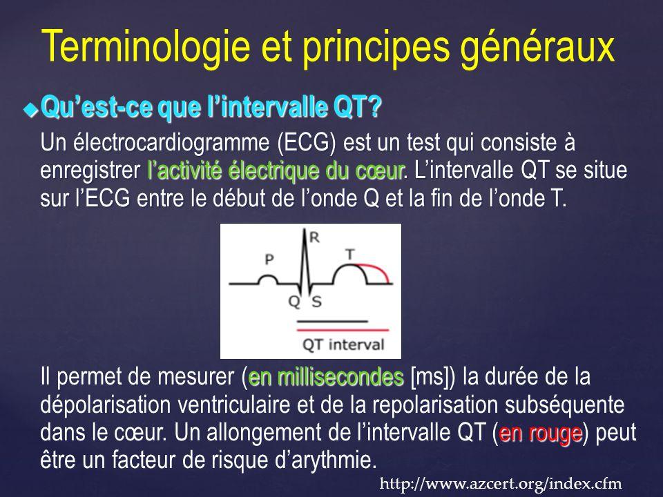 Terminologie et principes généraux Quest-ce que lintervalle QT? Quest-ce que lintervalle QT? Un électrocardiogramme (ECG) est un test qui consiste à e