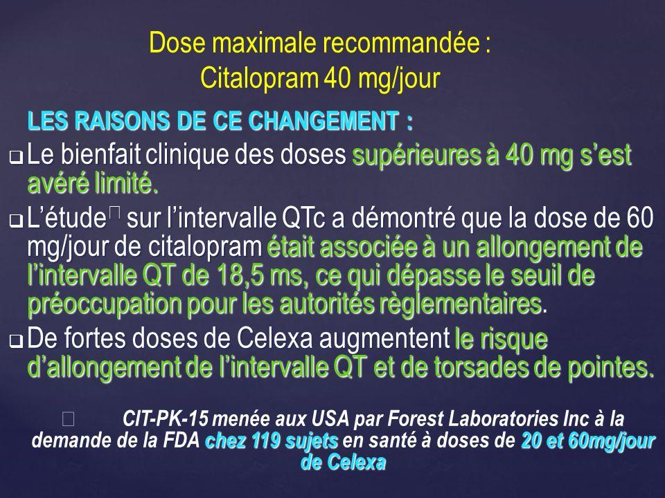 Dose maximale recommandée : Citalopram 40 mg/jour LES RAISONS DE CE CHANGEMENT : Le bienfait clinique des doses supérieures à 40 mg sest avéré limité.