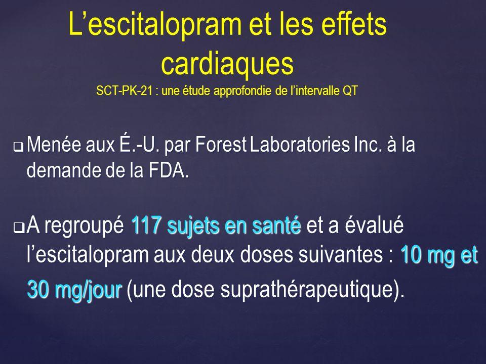 Lescitalopram et les effets cardiaques SCT-PK-21 : une étude approfondie de lintervalle QT Menée aux É.-U. par Forest Laboratories Inc. à la demande d