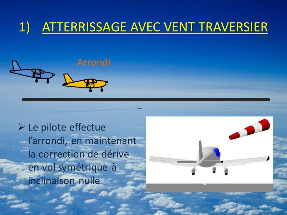 1)ATTERRISSAGE AVEC VENT TRAVERSIER Le pilote effectue larrondi, en maintenant la correction de dérive en vol symétrique à inclinaison nulle Arrondi