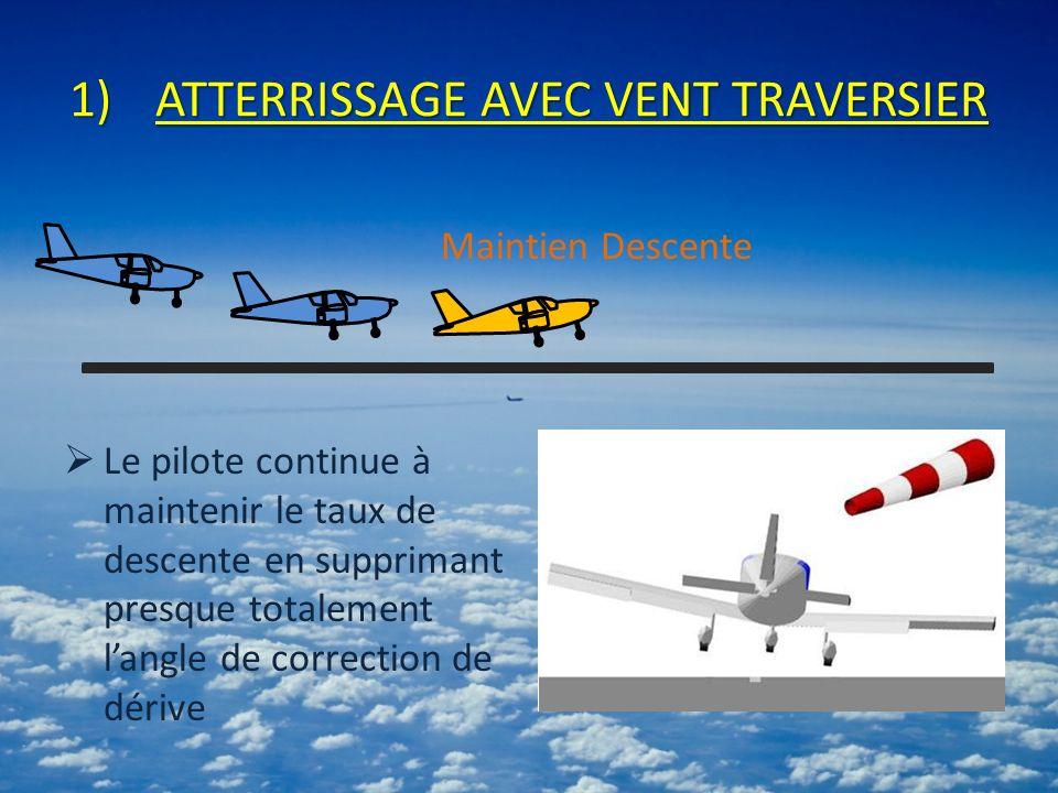 1)ATTERRISSAGE AVEC VENT TRAVERSIER Le pilote continue à maintenir le taux de descente en supprimant presque totalement langle de correction de dérive