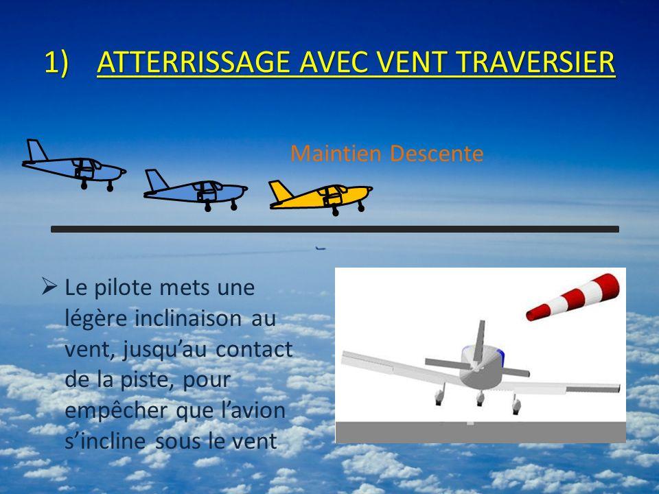 1)ATTERRISSAGE AVEC VENT TRAVERSIER Le pilote mets une légère inclinaison au vent, jusquau contact de la piste, pour empêcher que lavion sincline sous le vent Maintien Descente