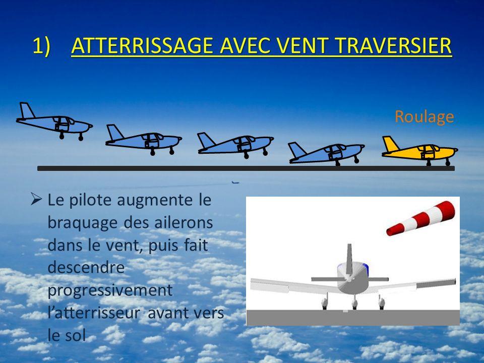 1)ATTERRISSAGE AVEC VENT TRAVERSIER Le pilote augmente le braquage des ailerons dans le vent, puis fait descendre progressivement latterrisseur avant vers le sol Roulage