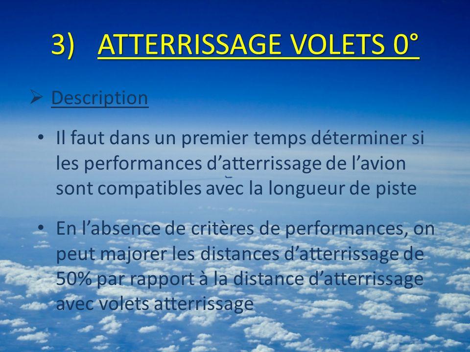 3)ATTERRISSAGE VOLETS 0° Description Il faut dans un premier temps déterminer si les performances datterrissage de lavion sont compatibles avec la longueur de piste En labsence de critères de performances, on peut majorer les distances datterrissage de 50% par rapport à la distance datterrissage avec volets atterrissage