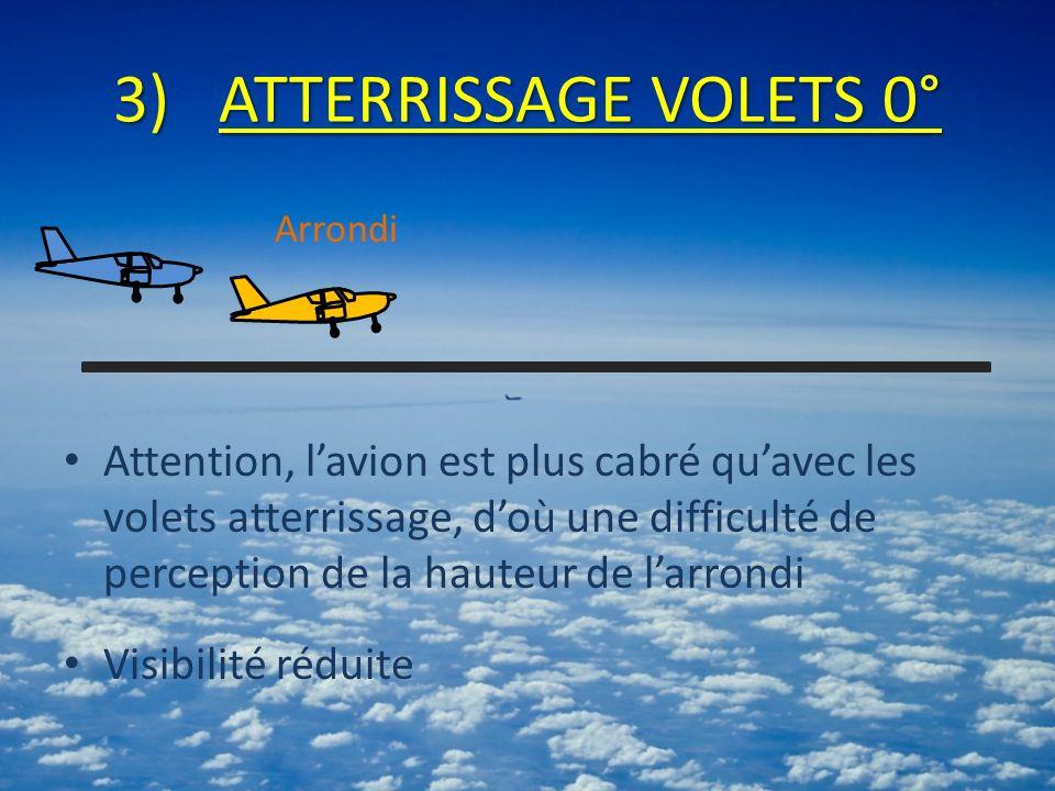 3)ATTERRISSAGE VOLETS 0° Attention, lavion est plus cabré quavec les volets atterrissage, doù une difficulté de perception de la hauteur de larrondi V