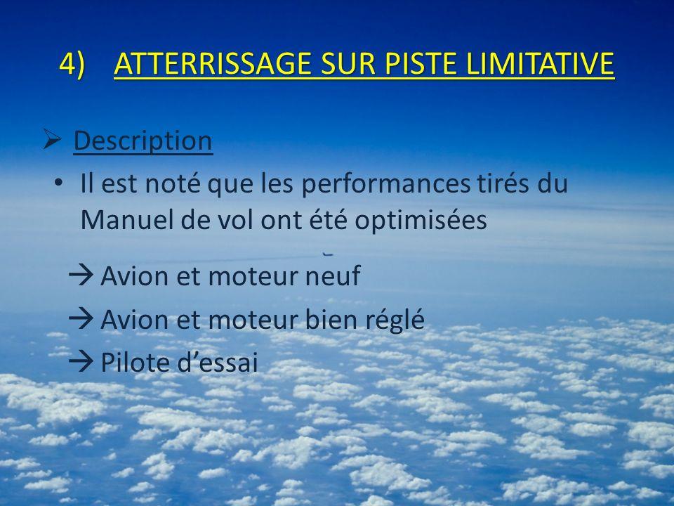 4)ATTERRISSAGE SUR PISTE LIMITATIVE Description Il est noté que les performances tirés du Manuel de vol ont été optimisées Avion et moteur neuf Avion