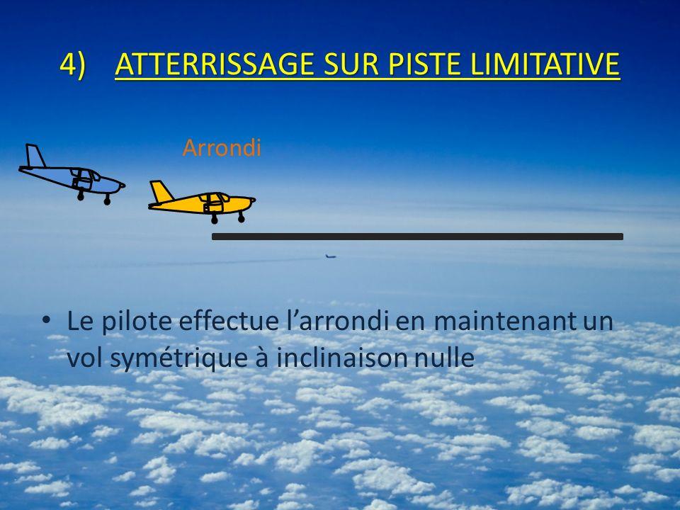 4)ATTERRISSAGE SUR PISTE LIMITATIVE Le pilote effectue larrondi en maintenant un vol symétrique à inclinaison nulle Arrondi