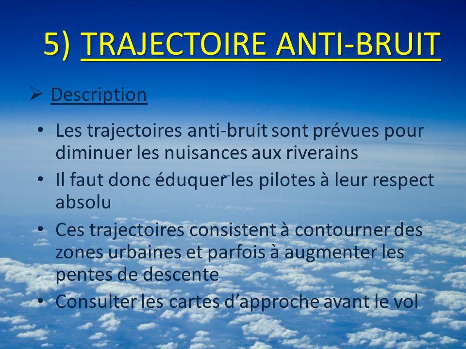 5)TRAJECTOIRE ANTI-BRUIT Description Les trajectoires anti-bruit sont prévues pour diminuer les nuisances aux riverains Il faut donc éduquer les pilot