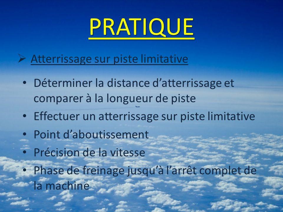 PRATIQUE Atterrissage sur piste limitative Déterminer la distance datterrissage et comparer à la longueur de piste Effectuer un atterrissage sur piste