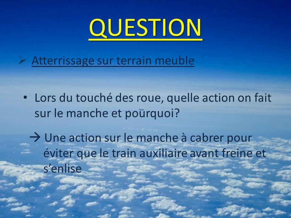 QUESTION Atterrissage sur terrain meuble Lors du touché des roue, quelle action on fait sur le manche et pourquoi.