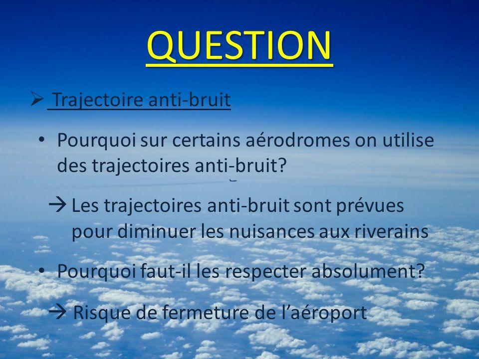 QUESTION Trajectoire anti-bruit Pourquoi sur certains aérodromes on utilise des trajectoires anti-bruit? Les trajectoires anti-bruit sont prévues pour